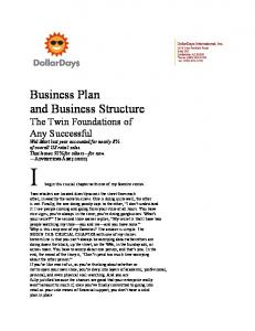 Business Plan and Business Structure