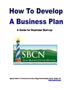 Business Plan for a Startup Business - the NC Small Business ...