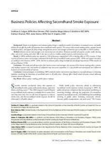 Business Policies Affecting Secondhand Smoke Exposure