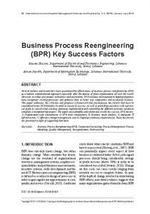 Business Process Reengineering (BPR) Key Success Factors