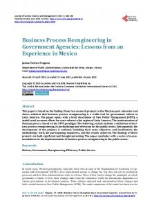 Business Process Reengineering in Government Agencies - Scientific ...