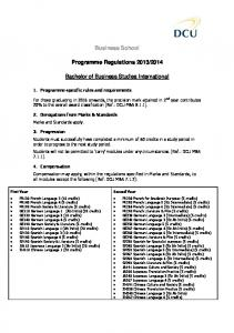 Business School Programme Regulations 2013/2014 ... - DCU