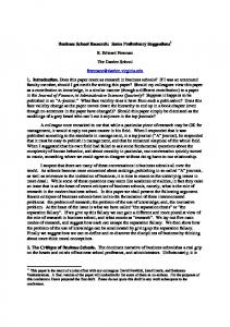Business School Research: Some Preliminary Suggestions R. Edward ...
