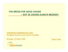 but is choise always needed? - EESC European Economic and ...