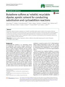 Butadiene sulfone as 'volatile', recyclable dipolar, aprotic solvent for ...