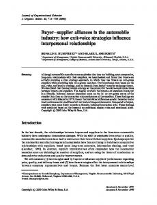 Buyer-supplier alliances in the automobile industry