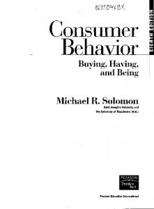 Buying, Having, and Being Michael R. Solomon