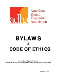 BYLAWS CODE OF ETHICS - American Dental Hygienists Association