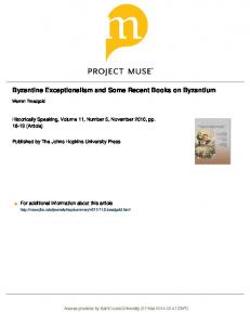 Byzantine Exceptionalism and Some Recent Books ...