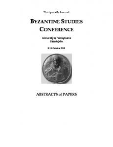 byzantine studies conference - Byzantine Studies Association of North ...