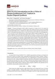 C Catalyst in Fischer-Tropsch ... - MDPI