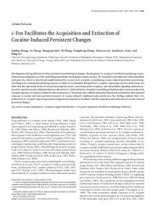 c-Fos Facilitates the Acquisition and Extinction of Cocaine-Induced ...