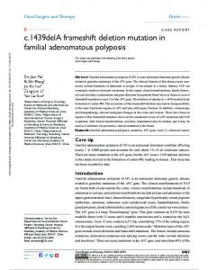 c.1439dela frameshift deletion mutation in familial