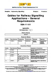 Cables for Railway Signalling Applications - ARTC - Intranet ...