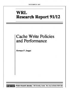 Cache Write Policies and Performance