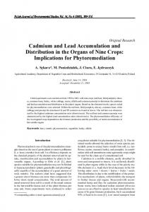 Cadmium and Lead Accumulation and Distribution in the Organs of ...