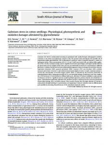 Cadmium stress in cotton seedlings: Physiological ...