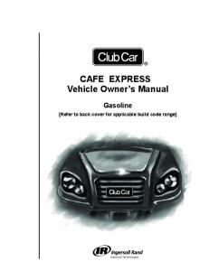 Cafe Express Owners Manual - Club Car