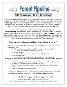CAFE Strategy: Cross Checking