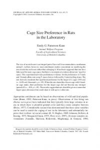 Cage Size Preference in Rats in the Laboratory