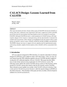 CALACS Design: Lessons Learned from CALSTIS - STScI