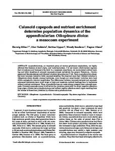 Calanoid copepods and nutrient enrichment determine population ...