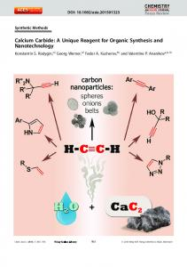 Calcium Carbide: A Unique Reagent for Organic Synthesis and