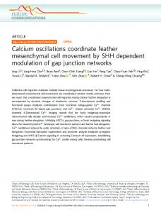 Calcium oscillations coordinate feather mesenchymal cell movement