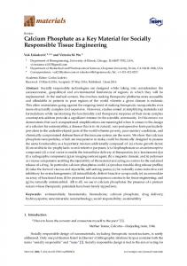 Calcium Phosphate as a Key Material for Socially Responsible ... - MDPI