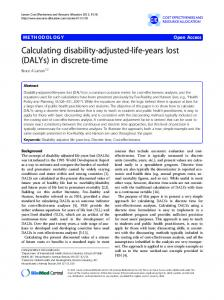 Calculating disability-adjusted-life-years lost (DALYs) in discrete-time