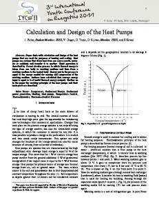 Calculation and Design of the Heat Pumps