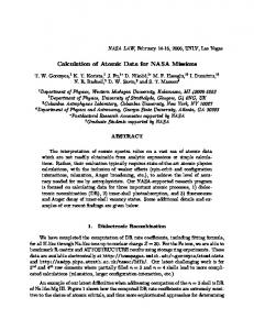 Calculation of Atomic Data for NASA Missions