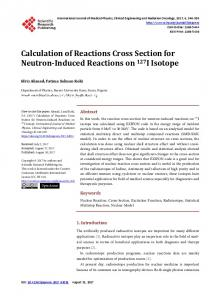 Calculation of Reactions Cross Section for Neutron-Induced Reactions ...
