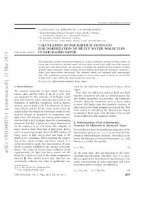 Calculation of the Dimer Equilibrium Constant of Heavy Water ...