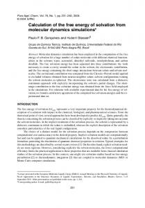 Calculation of the free energy of solvation from molecular ... - CiteSeerX