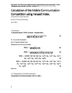 Calculation of the Mobile Communication Competition ...