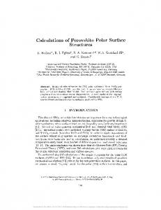 Calculations of Perovskite Polar Surface Structures - Core