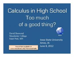 Calculus in High School: Too Much of a Good Thing?
