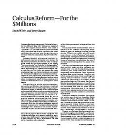 Calculus Reform--For the $Millions