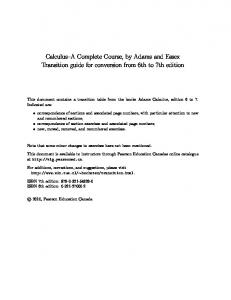 Calculus–A Complete Course, by Adams and Essex Transition guide