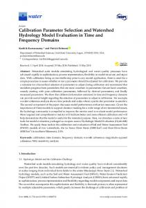 Calibration Parameter Selection and Watershed Hydrology ... - MDPI