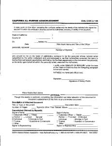 California All Purpose Acknowledgement Form