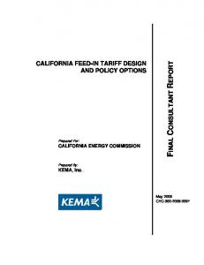 California Feed-In Tariff Design and Policy Options - California Energy ...