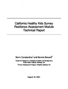 California Healthy Kids Survey Resilience Assessment Module ...