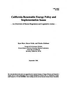 California Renewable Energy Policy and ... - Semantic Scholar