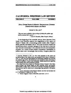 california western law review - SSRN papers