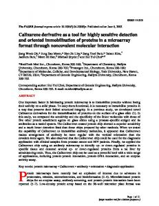 Calixarene derivative as a tool for highly sensitive detection and ...