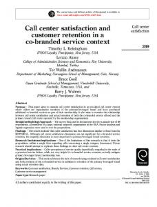 Call center satisfaction and customer retention in a co ... - CiteSeerX