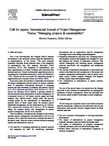 Call for papers: International Journal of Project