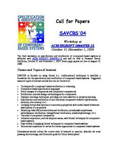Call for Papers SAVCBS'04 - UCF EECS